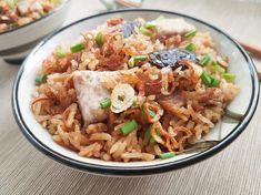 Delicious yam rice recipe. Savory one-pot dish of yam (taro), meat and shiitake mushrooms.