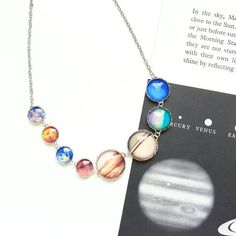 Solar System Necklace. Planet Necklace. Space Jewelry. Space Necklace. Science Necklace. Science Gift. Planet Earth. Earth Jewelry