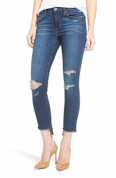 Joe's Icon Ripped Step Hem Crop Skinny Jeans (Blondie) (Nordstrom Exclusive)