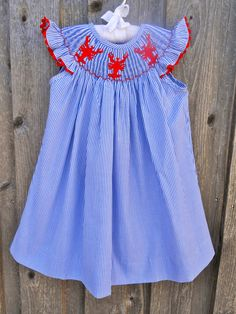 Stripe Smocked Lobster (or Crawfish!) Dress from Smocked Auctions