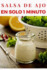 Learn how to prepare this delicious recipe for garlic, mayonnaise or ajonesa sauce in just 1 minute Sauce Recipes, Cooking Recipes, Healthy Recipes, Spanish Dishes, Latin Food, Garlic Sauce, Mediterranean Recipes, Sauces, Tan Solo