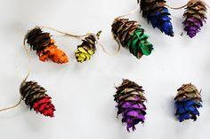 Rainbow-dipped pine cones.