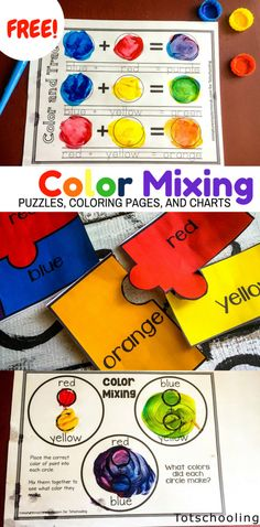 FREE printable activities for preschool and kindergarten kids to learn about primary and secondary colors, color mixing and color words while having fun with paint! Also includes coloring pages, puzzles, color charts and word tracing.
