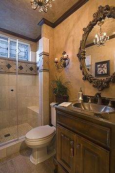 beautiful small bathroom!!  www.rejoyinteriors.com