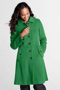 Women's Luxe Wool Swing Car Coat from Lands' End