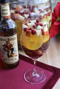 Holiday Spice Sangria For the Holiday Spice Sangria 3 bottles of Pinot Grigio 1 2 litre of lemon lime soda 1½ cup Captain Morgan's Light Rum 6 cups assorted sliced fruits (apples, oranges, cranberries, pears and grapes) ½ cup spiced simple syrup