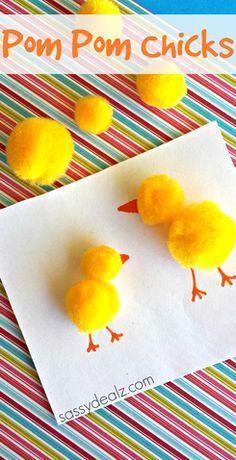 Easy Pom Pom Chicks Craft for kids #Homemade Easter card idea | http://CraftyMorning.com