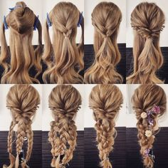 Variation of the comfortable hair arrangement, even if there are several. self frisuren haare hair hair long hair short Pretty Hairstyles, Girl Hairstyles, Wedding Hairstyles, Updos Hairstyle, Brunette Hairstyles, Bouffant Hairstyles, Simple Hairstyles, Mermaid Hairstyles, Braided Hairstyles For Long Hair