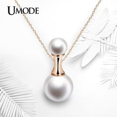 Perfume Bottle Shaped 12mm Pearl Rose Gold Plated Necklaces