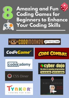 8 Amazing and Fun Coding Games for Beginners to Enhance Your Coding Skills CodeMonkey CodinGame CodeCombat CSS Diner Codecademy Cyber-Dojo Thynker Ruby Warrior Coding Games For Beginners, Coding For Kids, Dojo, Infographics, Cyber, Passion, Amazing, Fun