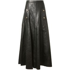Chloé Black Leather Wide Long Skirt (248.830 RUB) ❤ liked on Polyvore featuring skirts, leather skirt, floor length skirts, chloe skirt, real leather skirt and long skirts