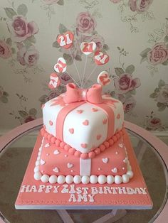 21st birthday cakes - Google Search Square Birthday Cake, Girly Birthday Cakes, Round Birthday Cakes, Bithday Cake, Birthday Sheet Cakes, 21st Birthday Cakes, Cake Icing Tips, Present Cake, 18th Cake