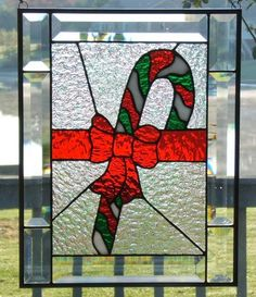 Beveled stained glass panel window Christmas candy cane