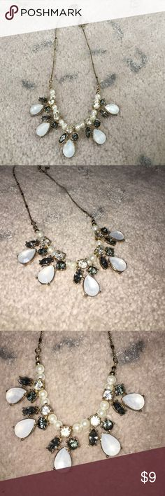 """BEAUTIFUL LC necklace Pearls, gray gems, clear gems, and iridescent moonstone. Approximately 8"""" long LC Lauren Conrad Jewelry Necklaces"""