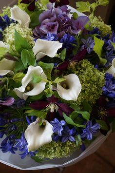 calla,hydrangea and clematis
