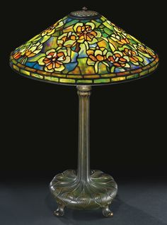 """** Tiffany Studios, New York, Favrile Leaded Glass and Patinated Bronze """"Tulip Tree"""" Lamp. Stained Glass Lamps, Stained Glass Designs, Leaded Glass, Tiffany Art, Tiffany Lamps, Table Lamp Base, Lamp Bases, Table Lamps, Chandelier Design"""