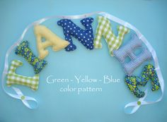 Boys room name banner, Fabric letter name banner - BLUE - YELLOW - GREEN  color pattern,Boy Name Wall Art