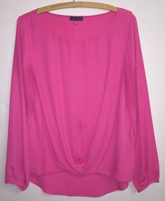 Nordstrom Vince Camuto Sz L Pink Round Neck Long Sleeve Twist Bottom Blouse EUC #VincaCamuto #Blouse #rvatreasures #longsleeve #twist #Pink #Roundneck #nordstrom