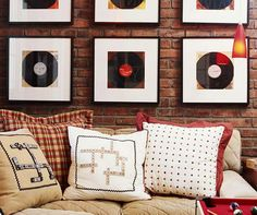 Flea Market Records The key to creating a cozy entertainment area is setting up a simple space with lots of character: Game-piece pillows, a bold billiards table, and thrifty wall art make a winning decor combination. Classic hues of red, white, and blue Record Wall Art, Framed Records, Old Records, Vintage Records, Vinyl Records, Record Decor, Record Display, Game Room Decor, Wall Decor