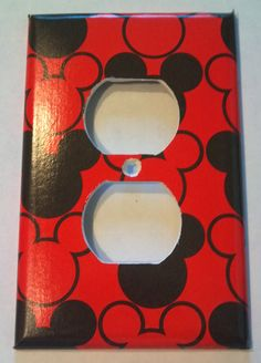 Black and Red Mickey Mouse Heads Print Outlet by PeddlinTreasurez, $6.00