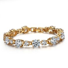 Forcolor Gold-Plated Sparkling White Cubic Zirconia Tennis Bracelet 7'' -- Read more @ http://www.amazon.com/gp/product/B01ER45UTU/?tag=finejewelry4u.com-20&prw=110716223254