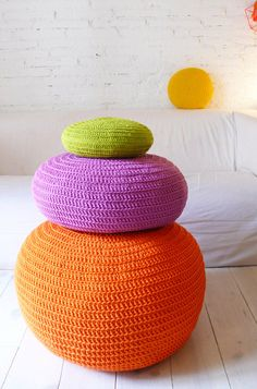 Pouf Crochet big  Orange por lacasadecoto en Etsy, €75.00
