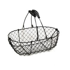 Stella Black Mini Oblong Wire Basket 9in-reception table with cobalt blue ribbon-$3.50