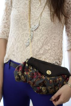 Oleander, Kelley clutch in charcoal and metallic pink/purple/gold brocade with black lambskin leather with gold chain strap