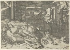 Landschap met twee naakte slapende vrouwen en fantasiedieren op oever bij water met brandend gebouw, Marcantonio Raimondi, 1505 - 1510