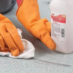 removing tough stains from vinyl flooring! I have a big red spot in my kitchen I will be trying this out on!- I have these in these old floors! ugh!
