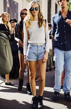 b81897d329 A perfect look for spring by Cara Delevingne  high waisted shorts