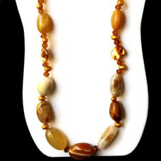 Long Chunky Statement Necklace/ Yellow Gold Persian by ALFAdesigns, $89.99