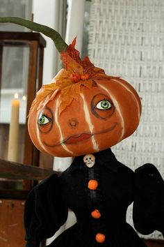 "Joe Spencer Halloween Folk Art Primitive Style LILLIAN PUMPKIN 40"" Doll Figurine"
