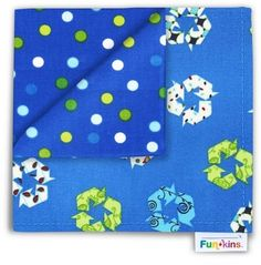 Funkins - Cloth Napkin - Save the World Blue Recycle Eco Kids, School Lunch Box, Building For Kids, Cloth Napkins, Earth Day, Back To School, Recycling, World, Pattern