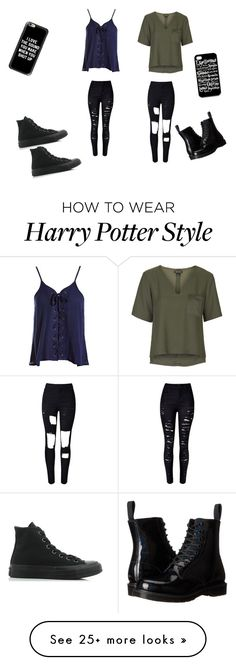 """Me and Finn"" by lyra-slytherin on Polyvore featuring Sans Souci, WithChic, Casetify, Topshop, Converse and Dr. Martens"