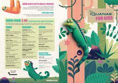 Bristol-based animation studio Aardman has designed a new kid's menu for Latin American restaurant chain Las Iguanas. Menu Card Design, Book Design Layout, Studio Layout, Kids Activity Books, Book Activities, Editorial Layout, Editorial Design, Menu Illustration, Kids Menu