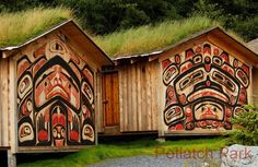 Recreation of part of a Tlingit Village Ketchikan Alaska Pictures - Potlatch Totem Park