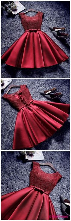 Red short homecoming dress, round neck junior dress Short Semi Formal Dresses, Short Dresses For Girls, Party Dresses For Girls, Short Gowns, Dresses For Teens Wedding, Teen Prom Dresses, Red Lace Dress Short, Pretty Dresses For Teens, Short Red Prom Dresses