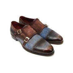 Paul Parkman Men's Captoe Double Monkstrap Antique Blue Brown Suede... ❤ liked on Polyvore featuring men's fashion and men's shoes
