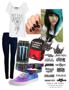 """""""Scene Emo ???"""" by zoeekai13 ❤ liked on Polyvore featuring Vans, ONLY and Fame on You"""