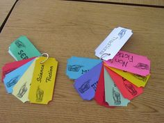 genre tickets...kids rip them off as they read each genre
