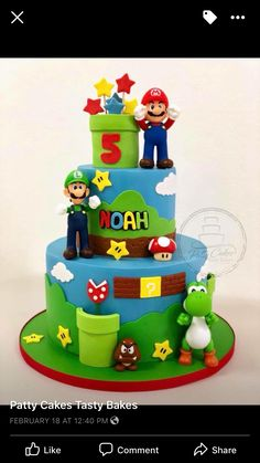 Super Mario Cupcakes, Super Mario Party, Super Mario Bros, Luigi Cake, Mario Bros Cake, Mario Kart Cake, Bolo Do Mario, Bolo Super Mario, Mario Birthday Cake