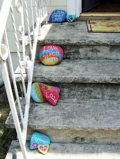 Painted Rocks - love the idea of placing them on the porch steps.
