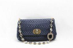 2013 New Miu Miu Nappa Leather Clutch/Shoulder Bag 81187 in Blue