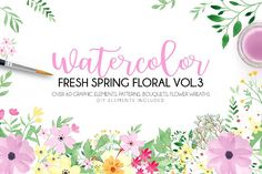 Watercolor fresh spring floral vol.3 by Daria Bilberry on @creativemarket