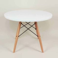 Control Brand GT086WWHT Childrens Table with Wood Eiffel Base