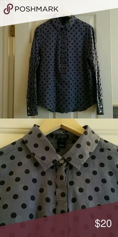 Jcrew popover shirt Really great blue and navy pull over shirt. Gently worn but still in great condition! Light weight material. jcrew Tops Button Down Shirts