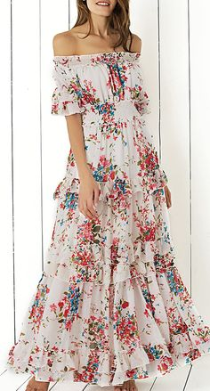 748238c055e Bohemian Off The Shoulder Floral Shirred Flounce Maxi Dress For Women is a  pretty floral maxi dress which makes you feel like special when you wear it