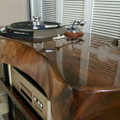Demon Direct Drive turntable built into beautiful custom audio console.