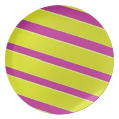 Fun Pink and Yellow Striped Plate